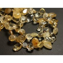 Fil 39cm 50pc env - Perles de Pierre - Citrine Chips 9-15mm