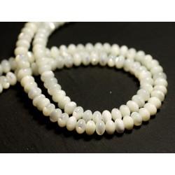 Fil 39cm 102pc env - Perles Nacre blanche naturelle irisée Rondelles 6x4mm
