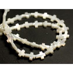 Fil 39cm 42pc env - Perles Nacre blanche naturelle irisée Croix 9x7mm
