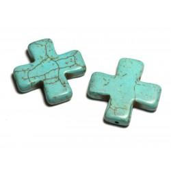 Fil 39cm 12pc env - Perles de Pierre Turquoise Synthèse Reconstituée Croix 30mm Bleu Turquoise