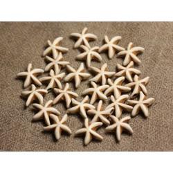 Fil 39cm 35pc env - Perles de Pierre Turquoise Synthèse Reconstituée Étoiles de mer 14mm Blanc