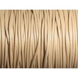 Bobine 90 mètres - Fil Cordon Coton Ciré 1.5mm Beige clair crème ivoire