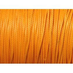 Bobine 90 mètres - Fil Cordon Coton Ciré 1mm Jaune Orange Safran