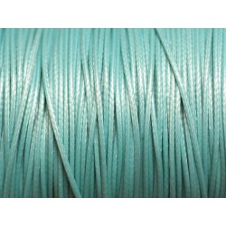 Bobine 180 mètres - Fil Cordon Coton Ciré 0.8mm Bleu Turquoise pastel