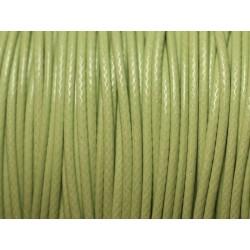 Bobine 180 mètres - Fil Cordon Coton Ciré 0.8mm Vert clair anis