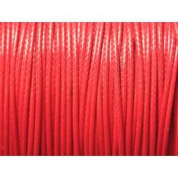 Bobine 180 mètres - Fil Cordon Coton Ciré 0.8mm Rouge vif