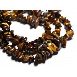 Fil 89cm 135pc env - Perles de Pierre - Oeil de Tigre Grosses Rocailles Chips 6-16mm
