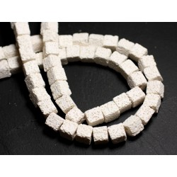 Fil 39cm 40pc env - Perles de Pierre - Lave Cubes 8-9mm Blanc