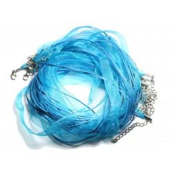100pc - Colliers Tours de Cou 47cm Coton et Tissu Organza 10mm Bleu Turquoise Paon