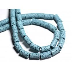 Fil 39cm 28pc env - Perles de Pierre - Lave Tubes 13x8mm Bleu Turquoise