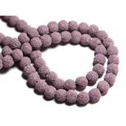 Fil 39cm 40pc env - Perles de Pierre - Lave Boules 10mm Violet Mauve