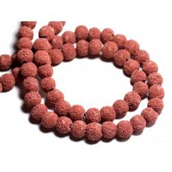 Fil 39cm 40pc env - Perles de Pierre - Lave Boules 10mm Rouge Rose Tomette