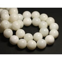 Fil 39cm 27pc env - Perles de Nacre blanche translucide Boules 14mm