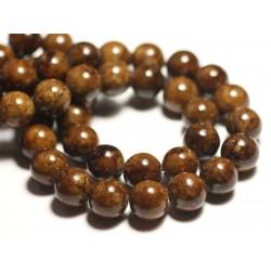 Fil 39cm 32pc env - Perles de Pierre - Jade Boules 12mm Marron Jaune Ocre