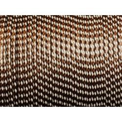 Bobine 90 mètres - Fil Cordon Coton Ciré 2mm Bicolore Blanc et Marron