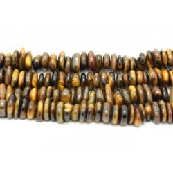 Fil 39cm 100pc env - Perles de Pierre - Oeil de Tigre Chips Palets Rondelles 8-14mm