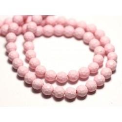 Fil 39cm 65pc env - Perles Nacre Boules Facettées 6mm Rose clair Pastel