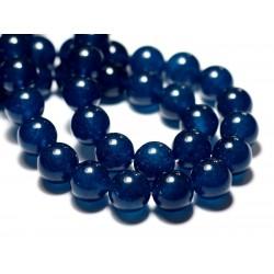 Fil 39cm 27pc env - Perles de Pierre - Jade Boules 14mm Bleu vert paon canard