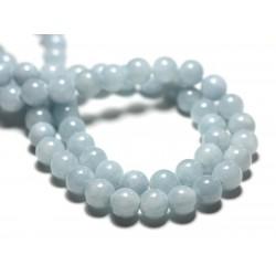 Fil 39cm 50pc env - Perles de Pierre - Jade Boules 8mm Bleu clair Pastel