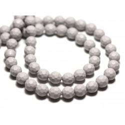 Fil 39cm 63pc env - Perles Nacre Boules Facettées 6mm Gris clair Perle Pastel