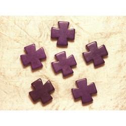 Fil 39cm 14pc env - Perles de Pierre Turquoise Synthèse Croix 25mm Violet