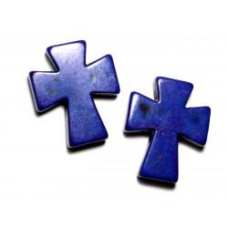 Fil 39cm 11pc env - Perles de Pierre Turquoise Synthèse Croix 35x30mm Bleu Roi Nuit