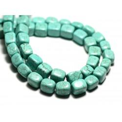 Fil 39cm 42pc env - Perles de Pierre Turquoise Synthèse Nuggets Cubes 9-10mm Bleu Turquoise