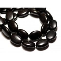 Fil 39cm 18pc env - Perles de Pierre Turquoise Synthèse Ovales 20x15mm Noir