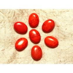 Fil 39cm 18pc env - Perles de Pierre Turquoise Synthèse Ovales 20x15mm Orange