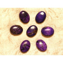 Fil 39cm 18pc env - Perles de Pierre Turquoise Synthèse Ovales 20x15mm Violet
