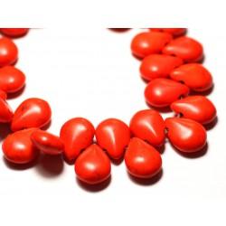 Fil 39cm 60pc env - Perles de Pierre Turquoise Synthèse Gouttes 16x12mm Orange