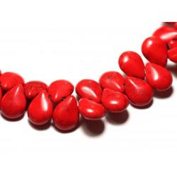 Fil 39cm 60pc env - Perles de Pierre Turquoise Synthèse Gouttes 16x12mm Rouge