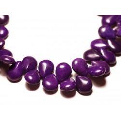 Fil 39cm 60pc env - Perles de Pierre Turquoise Synthèse Gouttes 16x12mm Violet