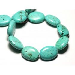 Fil 39cm 18pc env - Perles de Pierre Turquoise Synthèse Ovales 20x15mm Bleu Turquoise