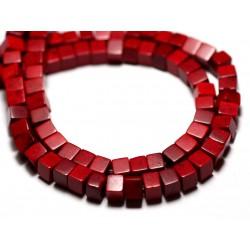 Fil 39cm 98pc env - Perles de Pierre Turquoise Synthèse Cubes 4mm Rouge Bordeaux