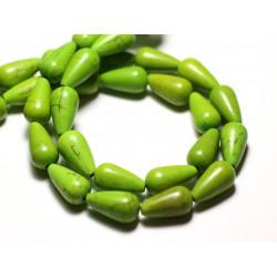 Fil 39cm 26pc env - Perles de Pierre Turquoise Synthèse Gouttes 14mm Vert