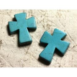 Fil 39cm 11pc env - Perles de Pierre Turquoise Synthèse Croix 35x30mm Bleu Turquoise