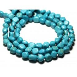 Fil 39cm 47pc env - Perles de Pierre Turquoise Synthèse Nuggets Galets roulés 7-10mm Bleu Turquoise
