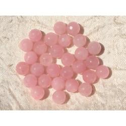Fil 39cm 46pc env - Perles de Pierre - Jade Boules Facettées 8mm Rose clair Pastel
