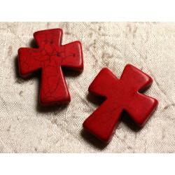 Fil 39cm 11pc env - Perles de Pierre Turquoise Synthèse Croix 35x30mm Rouge