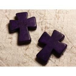 Fil 39cm 11pc env - Perles de Pierre Turquoise Synthèse Croix 35x30mm Violet