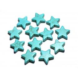 Fil 39cm 22pc env - Perles de Pierre Turquoise Synthèse Reconstituée Étoiles 20mm Bleu Turquoise