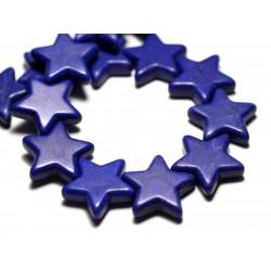 Fil 39cm 22pc env - Perles de Pierre Turquoise Synthèse Reconstituée Étoiles 20mm Bleu Roi Nuit