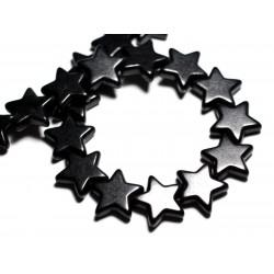 Fil 39cm 22pc env - Perles de Pierre Turquoise Synthèse Reconstituée Étoiles 20mm Noir