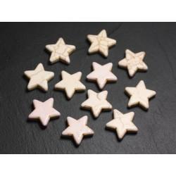Fil 39cm 22pc env - Perles de Pierre Turquoise Synthèse Reconstituée Étoiles 20mm Blanc crème
