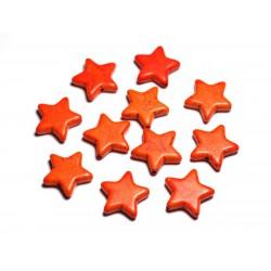 Fil 39cm 22pc env - Perles de Pierre Turquoise Synthèse Reconstituée Étoiles 20mm Orange