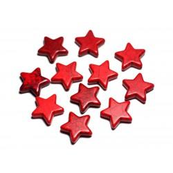 Fil 39cm 22pc env - Perles de Pierre Turquoise Synthèse Reconstituée Étoiles 20mm Rouge