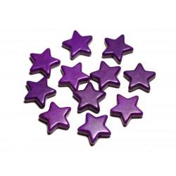 Fil 39cm 22pc env - Perles de Pierre Turquoise Synthèse Reconstituée Étoiles 20mm Violet
