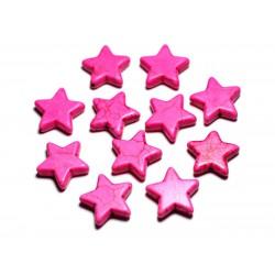 Fil 39cm 22pc env - Perles de Pierre Turquoise Synthèse Reconstituée Étoiles 20mm Rose Fluo