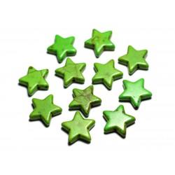 Fil 39cm 22pc env - Perles de Pierre Turquoise Synthèse Reconstituée Étoiles 20mm Vert